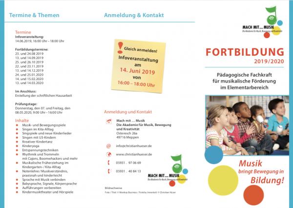 Infoveranstaltung zur Fortbildung 2019/20: Pädagogischen Fachkraft für musikalische Förderung …