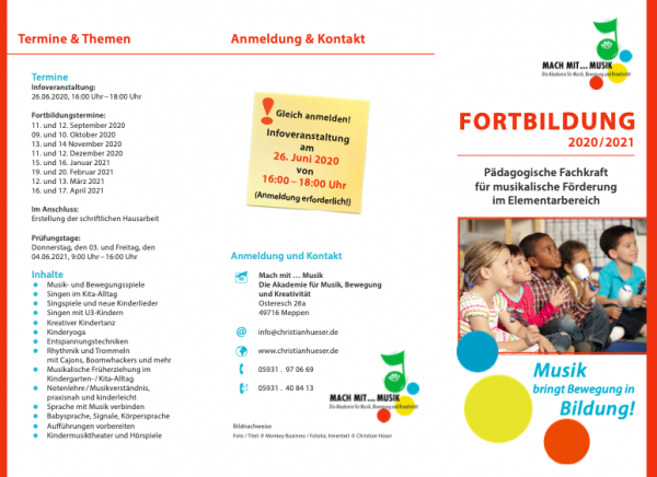 Fortbildung: Infoveranstaltung zur Pädagogischen Fachkraft für musikalische Förderung im Elementarbe